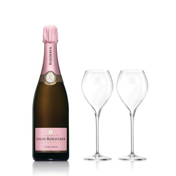 Champagne Louis Roederer Brut Rosé Vintage mit 2 FlûtesBild